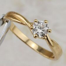 Size 8 Simple Hot Nice White CZ Gem Jewelry Yellow Gold Filled Claw Ring R2529-2