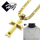 """24""""MEN's Stainless Steel 4.5mm Gold Figaro Link Chain Necklace Cross Pendant*SGD"""