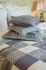 FANTASTIC KING SIZE GREY PATCHWORK QUILT 100% COTTON  BEDSPREAD SHADES OF GREY