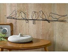 Metal Wall Art Sculpture Bird on a Wire 5 Birds Contemporary Modern Any Room