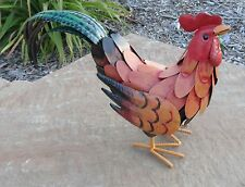 "Yard Art Rooster Metal Sculpture 11"" Chicken Garden Statue"