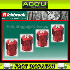 Richbrook Red R Logo Car Alloy Valve Dust Caps Set Of 4