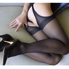 Women Sexy Nonslip Thigh-Highs Jacquard Pierced Stockings Racy Pantyhose Tights