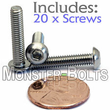 4mm x 0.70 x 20mm - Qty 20 - A2 Stainless Steel BUTTON HEAD Screws ISO 7380 M4