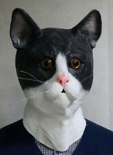 Black & White Cat Mask Latex Pussy Animal Fancy Dress Stag Party Feline Pet