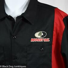 Dickies Mossy Oak Logo Work Shirt XL Black Red Two Tone Twill Short Sleeve