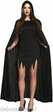 Long Black Velvet Hooded Halloween Witch Vampire  Cape Fancy Dress Costume Cloak