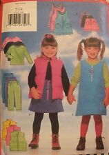 97  BUTTERICK 5222 Tdlr Girls Vest Jumper Skirt Top Pants PATTERN 2-3-4 UC