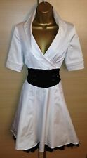 Exquisite Karen Millen New Rare White Black Corseted Shirt Plunge Dress UK10