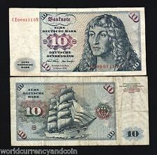 GERMANY 10 MARKS P31A 1970 SHIP DURER EURO GERMAN CURRENCY MONEY BILL BANK NOTE