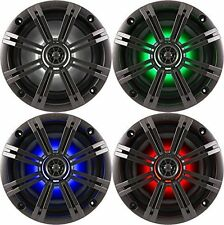 """4-Speakers Kicker 6.5"""" 195W Marine Audio Coaxial Color LED Lights Charcoal Grill"""