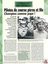 Race Pilote de Course Père & Fils; Hill/Brabham/Fittipaldi Car Auto FICHE FRANCE