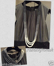 CHANEL SILVER GREY PEARL MULTI STRAND CC NECKLACE
