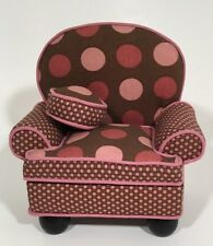"""1:6 Dollhouse Upholstered Living Room Chair Mauve/Brown Polka Dots 6"""" x 5"""" x 3"""""""