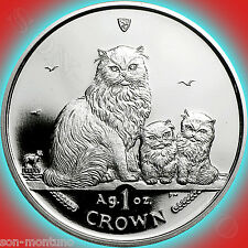 2005 Isle of Man - HIMALAYAN MOTHER & KITTENS - 1 oz .999 Silver Proof CAT COIN