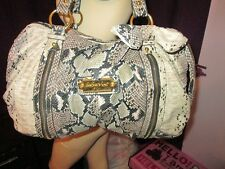 NEW Kimora BABY PHAT Embossed PYTHON Reptile SNAKE Bow ZIPPERS Large SATCHEL