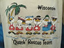 vtg 80s WISCONSIN BEACH DUCK QUACK TEAM DISTRESSED PAPER THIN T-Shirt L cartoon