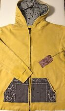 NWT CULT OF INDIVIDUALITY Men's YELLOW/GREY PAISLEY BANDANNA L/S HOODIE Size 3XL