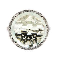 14K ROSE GOLD DIAMOND GREEN AMETHYST 13C HALO ENGAGEMENT COCKTAIL STATEMENT RING