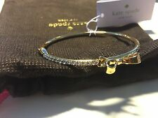 Kate Spade Clear/gold Love Notes Crystal Bow Bangle Bracelet NEW