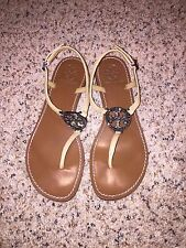 Tory Burch Violet Tan Leather Thong Sandals with Crystal Emblem-Size 7 EUC