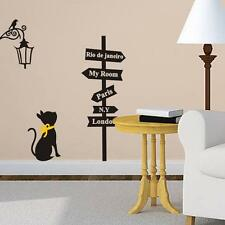 Newest Removable Road signs and Cat Pattern Home Decals Vinyl Art Wall Sticker