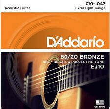 D'Addario EJ10 Acoustic Guitar Strings 80/20 Bronze Extra Light 10-47