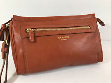 COACH Vintage Heritage Saddle Brown Tassel Zip Clutch Wallet Purse Wristlet Case