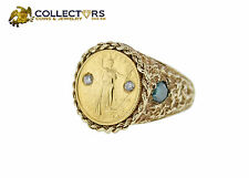 14K Gold Ring with 5 Dollar Gold Eagle Coin .10ctw Diamonds Size 9.25