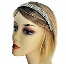 Sparkly! Diamante Jewelled Headband Hair Band on a Black Band with Teeth 2 cm