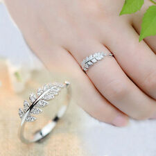 Retro Silver Leaf Ring Promise Olive Leaf Adjustable/Open Rings