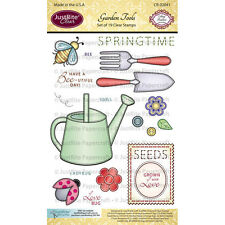 NEW * Justrite Garden Tools - Springtime * Set of 19 Clear Stamps JRCR2041