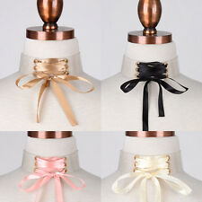 """Women Gothic Rubber band See Through Satin Corset Bow Tie CHOKER NECKLACE 12"""""""