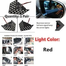 Universal 2 Super Sequential LED Arrow for Car Side Mirror Turn Signal Red 33SMD