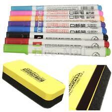 12 Colors Whiteboard Blackboard Marker+Magnetic Eraser Cleaner Office School Set