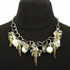 NWOT Statement Necklace with Flower x Coin x Key x Faux Pearl x Heart Design