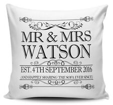 Happily Sharing The Sofa Personalised Anniversary Cushion Cover + Inner/Insert