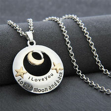 Love You To The Moon And Back Star Round Chain Silver Charms Pendant Necklace