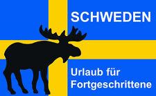 """Auto-Aufkleber """"Schweden - Urlaub für Fortgeschrittene"""" / Schweden-Flagge / Elch"""