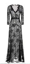 Women's Cool Cube  Black Floral Lace 2/3 Sleeves Long Bridesmaid Maxi Dress XL