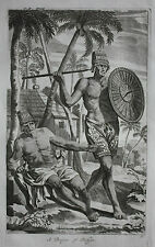 Original antique print BOUGIS, BOKJES, SOLDIER, INDONESIA,  Nieuhof, 1744