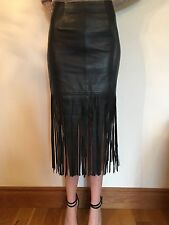 Women's Miss Selfridge Black Real Leather Skirt With Fringing Size UK 8