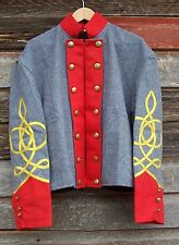 civil war confederate reenactor artrillery shell jacket with 3 row braids 52