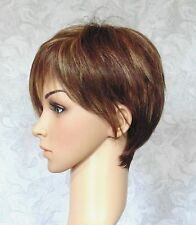 Short Brown Highlighted Angled Fringe Bangs Full Synthetic Wig Wigs - #91