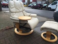 Large Ekornes Stressless Reno chair With Footstool And Table