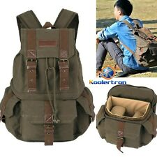 Vintage DSLR SLR Canvas Large Camera Bag Backpack Rucksack For Canon Nikon Sony