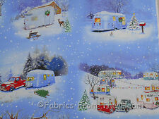 Vintage Travel Trailers Winter Campers Teardrop Scenic BY YARDS Cotton Fabric