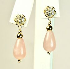 14k solid yellow gold teardrop 8x12mm natural rose Quartz earrings screw back