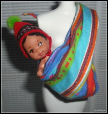 BABY MATTEL BARBIE DOLL PERUVIAN BABY DOLL & VIBRANT MULTI COLOR CARRIER WRAP