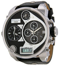 DIESEL CHRONOGRAPH BLACK ANALOG DIGITAL DIAL LEATHER STRAP MEN'S WATCH D7125 NEW